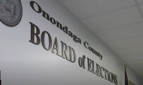 "Sign on wall saying,""Onondaga County Board of Elections"""