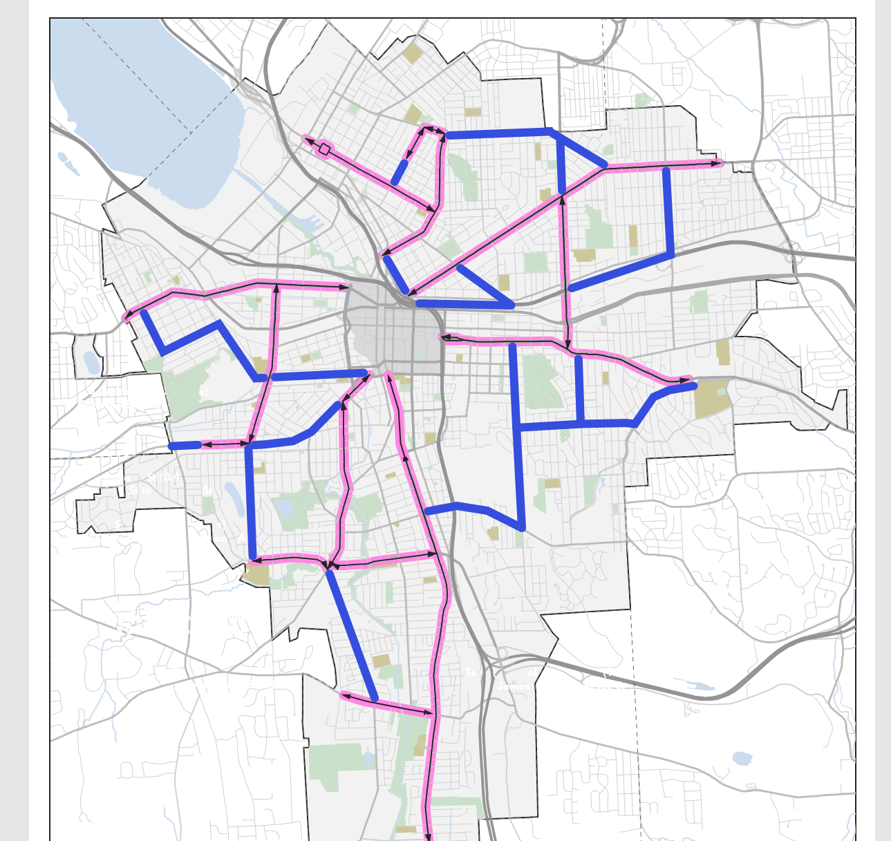 New routes are highlighted in blue, existed ones are highlighted in pink.
