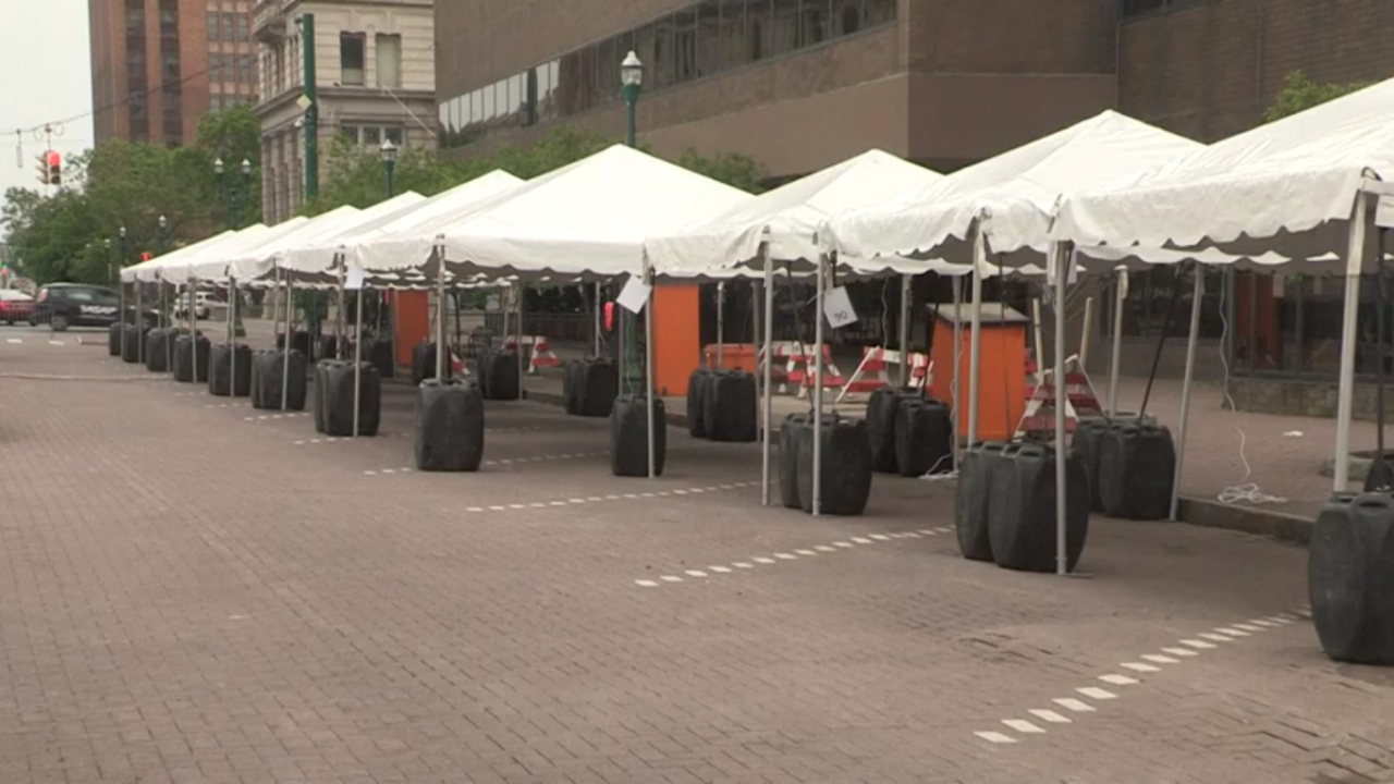 Tents are in place in preparation of Taste of Syracuse festival