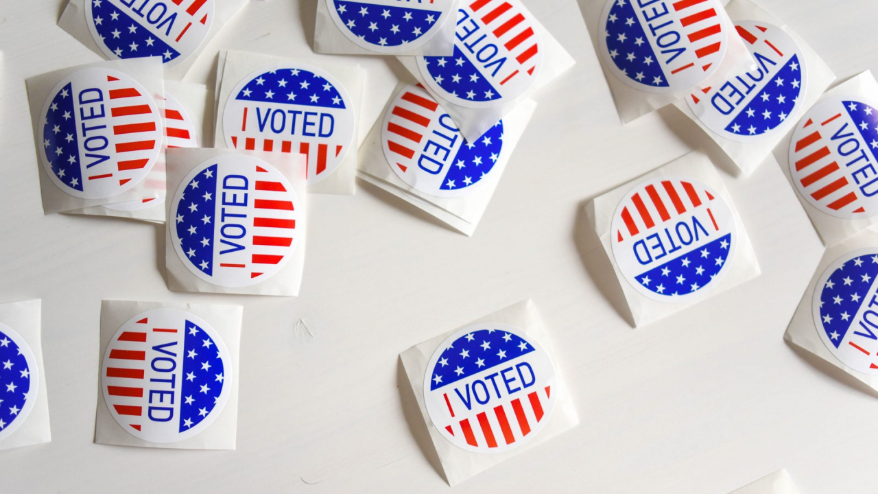 """""""I voted"""" stickers are given out to residents after they place their vote at polling sites."""
