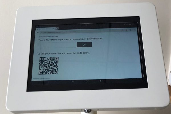 A picture of a screen of the an electronic kiosk.