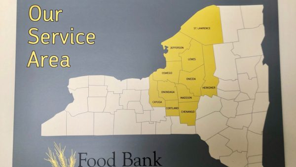 A map of the area that the Food Bank of Central New York covers.