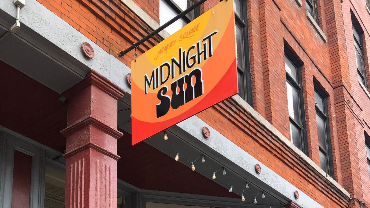 Midnight Sun sign on South Franklin Street in downtown Syracuse.