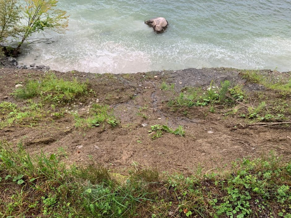 High water levels eat away at this bluff