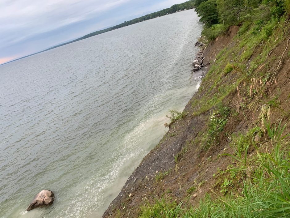 This angle shows the water eating away at this shoreline below the Derby Hill Look Out