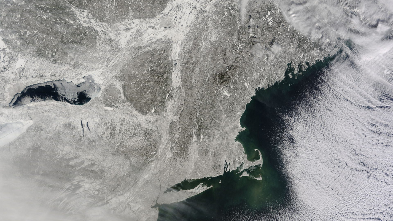 A snow-covered northeast after a big storm in 2015.