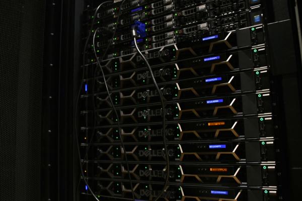 A rack of computer servers.