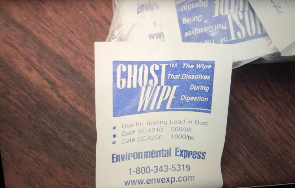 A wipe used by Envirolgic to test for lead